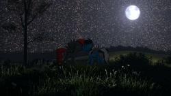 Size: 1024x576 | Tagged: safe, artist:caroline, oc, oc only, oc:buffonsmash, oc:dicemare, pegasus, pony, 3d, beautiful, eyes closed, female, folded wings, grass, hill, kissing, male, mare, moon, night, night sky, outdoors, pegasus oc, sky, source filmmaker, spread wings, stallion, stars, straight, tree, wings