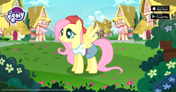 Size: 1200x630 | Tagged: safe, fluttershy, pegasus, pony, official, 90s grunge fluttershy, backwards ballcap, baseball cap, cap, female, flower, gameloft, hat, mare, outfit, solo
