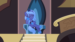 Size: 6452x3629   Tagged: safe, artist:inaactive, princess luna, alicorn, castle of the royal pony sisters, crossed legs, crown, female, hoof shoes, jewelry, peytral, regalia, s1 luna, sitting, solo, throne