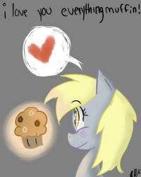 Size: 800x1000 | Tagged: safe, artist:8-blit-poni, derpy hooves, pegasus, pony, bust, female, food, gray background, heart, mare, muffin, pictogram, simple background, solo, speech bubble, that pony sure does love muffins
