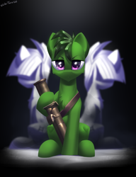 Size: 2300x3000 | Tagged: safe, artist:shido-tara, oc, oc:gem zodiac, oc:mini zodiac, oc:taurus zodiac, fallout equestria, fallout equestria: project horizons, angry, fanfic art, looking at you, rocket launcher, simple background, sitting