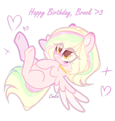 Size: 1632x1720 | Tagged: safe, artist:lazuli0209, oc, oc only, pegasus, pony, blushing, choker, commission, eye clipping through hair, eyelashes, happy birthday, lying down, multicolored hair, on back, pegasus oc, rainbow hair, simple background, smiling, solo, transparent background, underhoof, wings, ych result