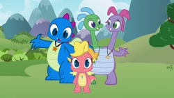 Size: 640x360 | Tagged: safe, artist:dre higbee, dragon, barely pony related, cassie (dragontales), cute, dragon tales, dragoness, female, male, multiple heads, ord, two heads, two-headed dragon, wheezie, zak, zak and wheezie