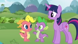 Size: 640x360 | Tagged: safe, artist:dre higbee, spike, twilight sparkle, alicorn, dragon, pony, baby, baby dragon, cassie (dragontales), crossover, cute, dragon tales, dragoness, female, male, mare, smiling, spikabetes, standing, trio, twiabetes, twilight sparkle (alicorn), waving, wingless spike