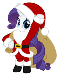 Size: 794x1024 | Tagged: artist needed, safe, rarity, pony, unicorn, beard, belt, bipedal, boots, christmas, clothes, costume, fake beard, female, hat, holiday, looking at you, mare, sack, santa beard, santa claus, santa costume, santa hat, santa sack, shoes, simple background, solo, standing, transparent background, vector