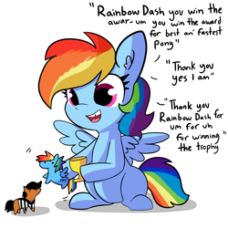 Size: 4110x4110 | Tagged: safe, artist:tjpones, rainbow dash, pegasus, pony, comic:fillies, cute, dashabetes, dialogue, doll, editorial cutie mark, female, filly, filly rainbow dash, hoof hold, playing, simple background, sitting, solo, tjpones is trying to murder us, tooth gap, toy, trophy, um, white background, younger