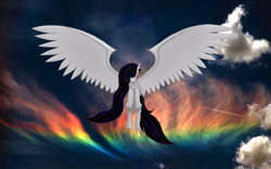 Size: 1191x742 | Tagged: safe, artist:sweet-blasphemy-mlp, oc, oc:sweet blasphemy, pegasus, pony, cloud, flying, large wings, pegasus oc, rainbow, solo, wings