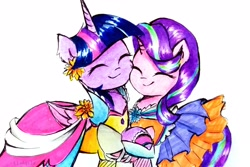 Size: 3483x2322 | Tagged: safe, artist:liaaqila, starlight glimmer, twilight sparkle, alicorn, pony, unicorn, clothes, commission, cute, dress, duo, eyes closed, female, flower, flower in hair, glimmerbetes, holding hooves, mare, marker drawing, simple background, smiling, traditional art, twiabetes, twilight sparkle (alicorn), white background