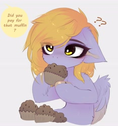 Size: 3842x4096   Tagged: safe, artist:magnaluna, derpy hooves, pegasus, pony, chest fluff, cute, derpabetes, dialogue, eating, floppy ears, food, herbivore, muffin, question mark, shoulder fluff, simple background, white background