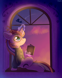 Size: 4000x5000 | Tagged: safe, artist:lilclim, moondancer, pegasus, pony, unicorn, absurd resolution, book, clothes, cute, dusk, evening, female, full body, glasses, mare, night, profile, reading, shooting star, sitting, sky, smiling, solo focus, stars, sweater, twilight (astronomy), window, windowsill