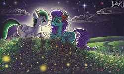 Size: 854x512 | Tagged: safe, artist:dreamyskies, derpibooru exclusive, oc, oc only, oc:aquashock, oc:dreamer skies, firefly (insect), insect, pegasus, pony, accessory, detailed background, dreamy, female, field, flower, happy, looking at each other, male, moonlight, night, oc x oc, pegasus oc, river, romantic, scenery, shipping, signature, sitting, sky, stars, wings