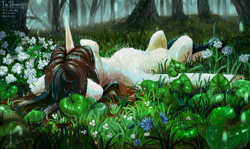 Size: 2433x1451 | Tagged: safe, artist:teaflower300, oc, oc only, pony, unicorn, chest fluff, flower, forest, horn, lying, lying down, lying in grass, on back, rain, scenery, scenery porn, solo, tree, water
