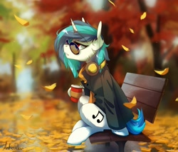 Size: 1692x1440 | Tagged: safe, artist:anticular, dj pon-3, vinyl scratch, pony, unicorn, autumn, bench, blurry background, clothes, coffee, coffee cup, cup, featured image, female, glasses, headphones, horn, jacket, leaves, lidded eyes, park bench, red eyes, scenery, scenery porn, sitting, solo