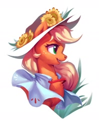 Size: 1214x1537 | Tagged: safe, artist:luciferamon, applejack, pony, bust, chest fluff, cloak, clothes, cute, female, flower, hat, jackabetes, mare, open mouth, portrait, profile, simple background, solo, white background