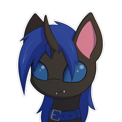 Size: 2000x2000 | Tagged: safe, artist:keupoz, oc, oc only, oc:swift dawn, changeling, pony, blue changeling, bust, changeling oc, collar, commission, fangs, looking at you, pet, portrait, signature, simple background, smiling, smiling at you, transparent background