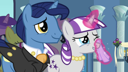 Size: 1280x720 | Tagged: safe, screencap, night light, twilight velvet, pony, unicorn, a canterlot wedding, ascot, ascot tie, clothes, crying, cute, daaaaaaaaaaaw, female, grin, handkerchief, hnnng, jewelry, liquid pride, magic, magic aura, male, mare, necklace, puppy dog eyes, smiling, stallion, suit, sweet dreams fuel, tears of joy, tuxedo, velvetbetes