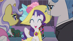 Size: 1280x720 | Tagged: safe, screencap, fancypants, rarity, upper crust, pony, unicorn, sweet and elite, clothes, female, hat, male, mare, stallion