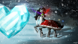 Size: 1280x720 | Tagged: safe, artist:sailesnake, king sombra, pony, umbrum, unicorn, armor, blizzard, cape, clothes, crystal heart, glowing eyes, glowing horn, horn, male, sharp teeth, signature, snow, snowfall, solo, sombra eyes, stallion, teeth, turning away