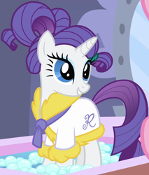 Size: 1220x1431 | Tagged: safe, screencap, rarity, pony, unicorn, green isn't your color, bath, bathrobe, clothes, cropped, cute, female, hair up, mare, ponytail, ponyville spa, raribetes, robe, solo, spa