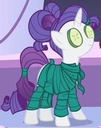 Size: 948x1205 | Tagged: safe, screencap, rarity, pony, unicorn, green isn't your color, clothes, cropped, cucumber, female, food, hair up, mare, ponytail, ponyville spa, robe, seaweed wrap, solo, spa