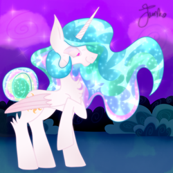 Size: 1100x1100 | Tagged: safe, artist:junko, princess celestia, alicorn, pony, alternate tailstyle, canterlot gardens, chest fluff, cute, cutelestia, ethereal mane, female, folded wings, mare, purple background, raised hoof, signature, simple background, solo, sparkly mane, standing, wings