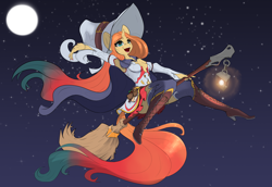 Size: 3200x2200 | Tagged: safe, artist:skitsniga, oc, oc only, oc:sheron, unicorn, anthro, boots, broom, flying, flying broomstick, full moon, halloween, hat, high heel boots, high heels, high res, holiday, horn, knee-high boots, lantern, magic, moon, open mouth, shoes, solo, stars, unicorn oc, witch, witch hat