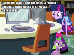 Size: 670x500 | Tagged: safe, artist:disciplethor, edit, edited screencap, screencap, spike, twilight sparkle, dog, equestria girls, equestria girls (movie), canada, canadian, computer, computer mouse, cropped, pronunciation, spike the dog