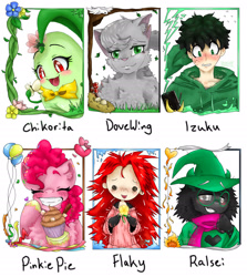 Size: 2050x2300 | Tagged: safe, artist:nightstorm02, pinkie pie, cat, chikorita, earth pony, human, pony, anthro, anthro with ponies, balloon, blushing, bowtie, bust, chest fluff, clothes, crossover, cupcake, deltarune, eyes closed, female, flaky, food, grin, happy tree friends, hat, humanized, izuku midoriya, male, mare, my hero academia, one eye closed, open mouth, pokémon, raised hoof, scarf, six fanarts, smiling, unshorn fetlocks, warrior cats, wink, witch hat