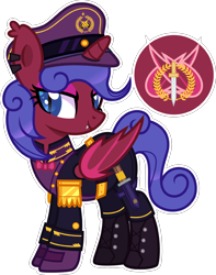 Size: 2000x2541 | Tagged: safe, artist:n0kkun, oc, oc only, oc:commander dark fang, alicorn, bat pony, bat pony alicorn, pony, alicorn oc, bat pony oc, bat wings, belt, boots, bowtie, clothes, coat, dagger, ear piercing, earring, eyeshadow, fangs, female, gloves, hat, horn, jewelry, knife, makeup, mare, pants, piercing, shirt, shoes, simple background, solo, transparent background, uniform, weapon, wings