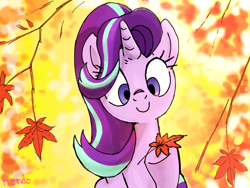 Size: 1600x1200 | Tagged: safe, artist:nendo, starlight glimmer, pony, unicorn, autumn, cute, female, glimmerbetes, hoof hold, leaves, mare, smiling, solo, tree