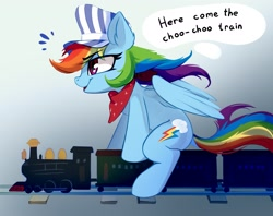 Size: 2400x1904 | Tagged: safe, artist:taneysha, rainbow dash, pegasus, pony, bandana, conductor, conductor hat, cute, dashabetes, ear fluff, female, hat, mare, profile, riding, sitting, solo, toy train, train