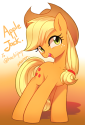 Size: 2317x3417 | Tagged: safe, artist:maren, applejack, earth pony, pony, applejack's hat, cowboy hat, cute, female, gift art, gradient background, hat, high res, jackabetes, mare, open mouth, solo