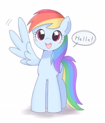 Size: 2788x3261 | Tagged: safe, artist:tstivv, rainbow dash, pegasus, pony, adventure in the comments, blushing, cute, daaaaaaaaaaaw, dashabetes, dialogue, featured image, female, folded wing, greeting, hello, hello in the comments, high res, hnnng, looking at you, mare, open mouth, pixiv, simple background, soft color, solo, speech bubble, spread wings, waving, weapons-grade cute, white background, wing hands, wings