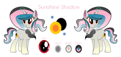 Size: 1280x611 | Tagged: safe, artist:stellamoonshine, oc, oc:sunshine shadow, hybrid, female, interspecies offspring, offspring, parent:discord, parent:princess celestia, parents:dislestia, simple background, solo, transparent background