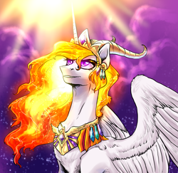 Size: 2920x2836   Tagged: safe, artist:not-ordinary-pony, derpibooru exclusive, nightmare star, princess celestia, alicorn, pony, female, mane of fire, mare, smiling, solo