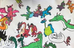 Size: 640x414 | Tagged: safe, smolder, spike, dragon, eastern dragon, american dragon jake long, cassie (dragontales), chinese dragon, cuphead, devon and cornwall, disney, don bluth, dragon tales, dragon's lair, dragoness, dreamworks, elliott, falkor, female, grim matchstick, haku, male, maleficent, marker drawing, mulan, mushu, ord, pete's dragon, quest for camelot, robert munsch, shrek, simple background, singe, sleeping beauty, spirited away, studio ghibli, teenaged dragon, teenager, the legend of zelda, the legend of zelda: ocarina of time, the legend of zelda: the wind waker, the neverending story, the paper bag princess, the reluctant dragon, traditional art, valoo, volvagia, wall of tags, wheezie, white background, winged spike, zak, zak and wheezie