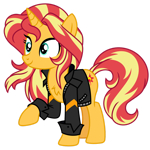 Size: 1024x1024 | Tagged: safe, artist:ambris, artist:emeraldblast63, sunset shimmer, pony, unicorn, chest fluff, clothes, cute, female, jacket, leather jacket, mare, raised hoof, redesign, shimmerbetes, simple background, solo, transparent background