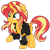 Size: 1024x1024   Tagged: safe, artist:ambris, artist:emeraldblast63, sunset shimmer, pony, unicorn, chest fluff, clothes, cute, female, jacket, leather jacket, mare, raised hoof, redesign, shimmerbetes, simple background, solo, transparent background