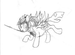 Size: 574x422 | Tagged: safe, artist:wheatley r.h., derpibooru exclusive, oc, oc only, oc:tailcoatl, pegasus, pony, female, happy, mare, mouth hold, nation ponies, pegasus wings, pencil drawing, ponified, raised hoof, running, smiling, solo, spread wings, stick, traditional art, translated in the description, wings