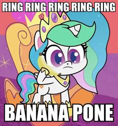 Size: 676x720 | Tagged: safe, edit, edited edit, edited screencap, screencap, princess celestia, pony, my little pony: pony life, pinkie pie: hyper-helper, pony life, banana, bananalestia, bananaphone, caption, cute, cutelestia, female, food, image macro, raffi, text