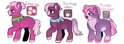 Size: 1280x458   Tagged: safe, artist:mylittlegami, cheerilee, jasmine leaf, oc, oc:kinder garden, earth pony, pony, female, headcanon, mare, siblings, simple background, sisters, white background