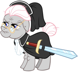 Size: 1280x1176 | Tagged: safe, artist:andoanimalia, temperance flowerdew, earth pony, pony, idw, spoiler:comic63, female, gameloft, glasses, idw showified, mare, simple background, solo, sword, transparent background, vector, weapon