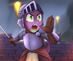 Size: 5940x5000   Tagged: safe, artist:felixf, spike, dragon, anthro, absurd resolution, armor, castle, fireball, knight, male, night, signature, solo, spike the brave and glorious, sword, wall, weapon, yelling