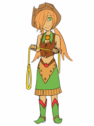 Size: 2600x3500 | Tagged: safe, artist:aritimas, part of a set, applejack, human, belly button, boots, breasts, cleavage, clothes, female, hair over one eye, hat, humanized, lasso, magical girl, midriff, rope, shoes, simple background, skirt, solo, vest, white background