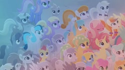 Size: 1920x1080   Tagged: safe, screencap, apple juice (character), autumn saffron, bridle wreath, bright vision, cherry lemonade, confetti party, crystal gaze, dawn droplet, goldielocks, harvest spice, hydrangea (character), jasmine breeze, lockpick (character), meadow bloom, pastelia, periwinkle breeze, petal shower, puppy love (character), quiet paws, rich harvest, rose honey, stargazer (character), summer melon, thistle rain, earth pony, pegasus, pony, unicorn, rainbow roadtrip, background pony, colt, crowd, female, filly, happy, looking up, male, mare, stallion