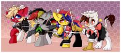 Size: 4000x1760 | Tagged: safe, artist:etoz, oc, oc only, oc:anja snow, oc:soleil moonshadow, oc:spacehorse, oc:vermilion brightwing, bat pony, earth pony, griffon, pegasus, pony, unicorn, bat pony oc, bat wings, blushing, bow, clothes, commission, earth pony oc, female, gradient background, griffon oc, group, hair bow, happy, horn, maid, maid headdress, mare, one eye closed, open mouth, paws, pegasus oc, rapier, saber, skirt, smiling, socks, stockings, sword, thigh highs, unicorn oc, weapon, wings, wink