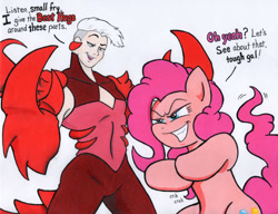 Size: 1000x766   Tagged: safe, artist:aliciavanhammer, pinkie pie, earth pony, pony, claws, crossover, dialogue, female, mare, scorpia, she-ra and the princesses of power, this will end in hugs, this will end in pain and/or hugs