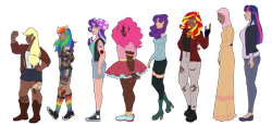 Size: 4621x2128 | Tagged: safe, artist:blacksky1113, applejack, fluttershy, pinkie pie, rainbow dash, rarity, starlight glimmer, sunset shimmer, twilight sparkle, human, alternate hairstyle, applejack's hat, beanie, bedroom eyes, belly button, bellyring, belt, boots, bra, bra strap, bracelet, breasts, cardigan, chubby, clothes, commission, converse, cowboy boots, cowboy hat, dark skin, dress, ear piercing, earring, eyebrow piercing, female, fingerless gloves, flats, gloves, grin, hat, headcanon, high heel boots, hijab, humanized, islam, islamashy, jacket, jeans, jewelry, leather jacket, lip piercing, mane six, midriff, nail polish, nose piercing, pants, piercing, rainbow socks, religion, shirt, shoes, shorts, simple background, size difference, skirt, smiling, snake bites, sneakers, socks, sports bra, sports shorts, stockings, striped socks, suspenders, sweater, t-shirt, tanktop, tattoo, thigh highs, tongue piercing, torn clothes, transparent background, underwear, wristband