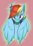 Size: 1000x1400 | Tagged: safe, artist:silverhopexiii, rainbow dash, pegasus, pony, bust, female, looking at you, mare, pink background, simple background, solo