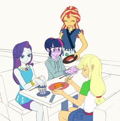 Size: 1620x1633 | Tagged: safe, artist:haibaratomoe, rarity, sci-twi, sunset shimmer, twilight sparkle, equestria girls, doodle, eyes closed, food, happy, open mouth, simple background, smiling, sushi, white background